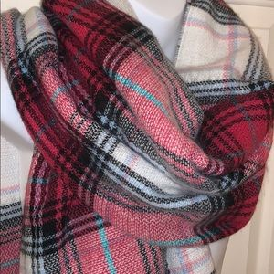Charming Charlie Hot Pink Plaid Blanket Scarf